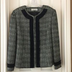 Elie Tahari Tweed Jacket with Ribbon Trim 12P